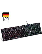 KLIM Dash – Niedrigprofil mechanische QWERTZ Tastatur mit roten Schaltern für ambitionierte Professionelle Anwender und Gamer -10 Jahre Garantie- RGB Farben - Metallrahmen -Vollständige Anpassbarkeit