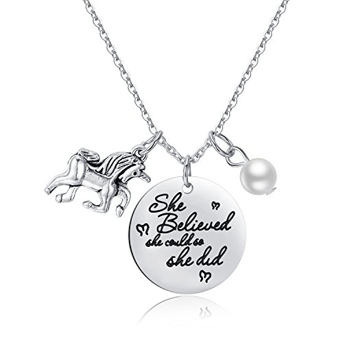Jureeone Inspirational Stainless Steel Pendant Necklace Letter Tag with Pearl Unicorn Gifts for Women Girls - She Believed She Could So She Did (Birthday Message For 7 Years Old Girl)