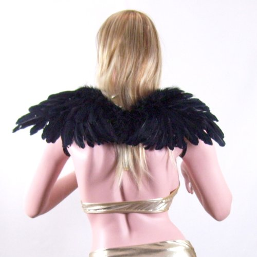 [SACAS Black Feather Angel Wings with Free Halo for woman, man, boys and girls] (Black Angel Fancy Dress Costumes)