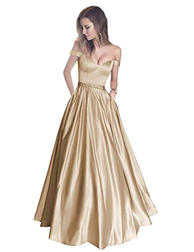 Off the Shoulder Sleeves Satin Long Prom Dress with Pockets Beaded Formal Evening Gowns Champagne Size 16