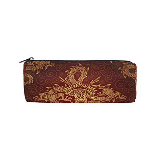 WOZO Chinese Dragon Animal Pen Pencil Case Makeup Cosmetic Pouch Case Travel Bag -