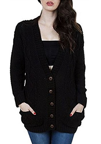(OgLuxe Women's Long Sleeve Cable Knit Cardigan (XXL/XXXL (UK 24-26 EU 52-54 US 20-22), Black))