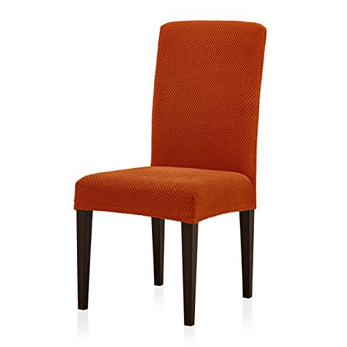 (Subrtex Jacquard Dining Room Chair Slipcovers Sets, Stretch Chair Furniture Protector Covers, Removable Washable Elastic Parsons Chair Cover for Dining Room, Hotel, Ceremony (2, Orange Jacquard))