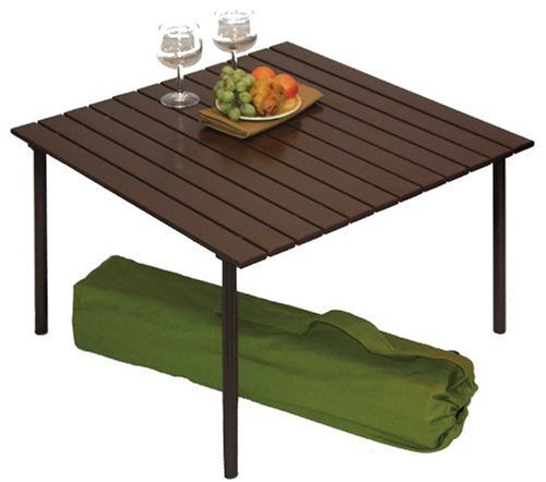 Table in a bag a2716 low aluminum portable table with carrying bag brown tables patio and - Low portable picnic table in a bag ...