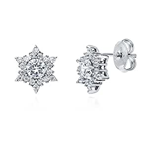 BERRICLE Rhodium Plated Sterling Silver Cubic Zirconia CZ Star Stud Earrings