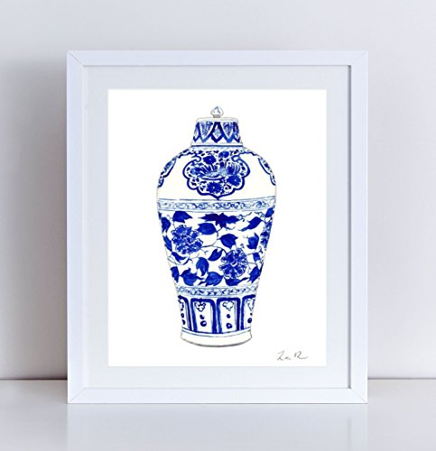 Blue and White China Print Ginger Jar Art 1 Chinoiserie Art Print Asian Decor Asian Art Print Chinese Art Print Chinese Painting Wall Art Watercolor Painting Canvas Art Print Unframed ()