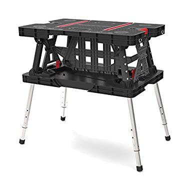 Keter 22 x 33.5 x 30.3 in. Adjustable Folding Compact Table Work Station Solution