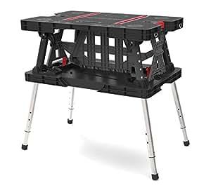 Keter Folding Compact Adjustable Workbench Sawhorse Work