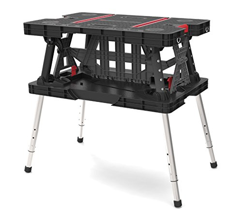 Keter Folding Compact Adjustable Workbench Sawhorse Work Table with Clamps 700 lb Capacity ()