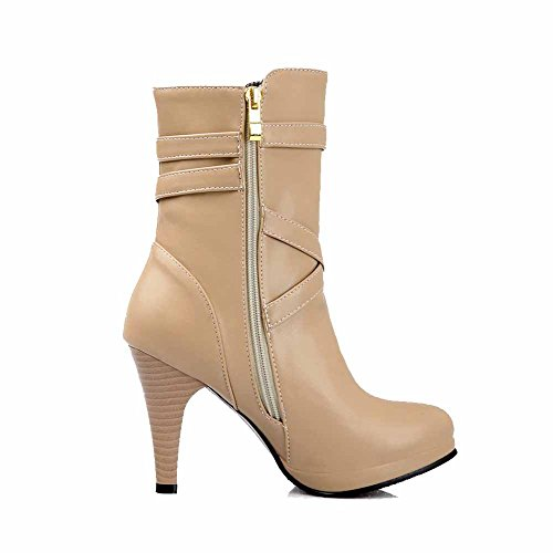 AgooLar Women's Solid PU High Heels Chains Round Closed Toe Boots Apricot m0T6T