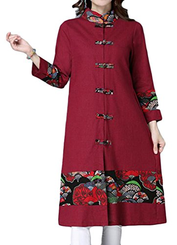 Long Style Red Long Collar Chinese Sleeve Women's Wine Stand Ethnic Fashion Coat TTYLLMAO qIBwS00