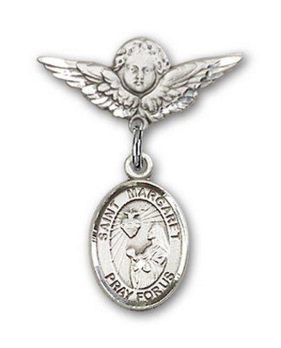 Icecarats Créatrice De Bijoux En Argent Sterling St. Marguerite Marie Alacoque Charme Ange Pin Badge 7/8 X 3/4