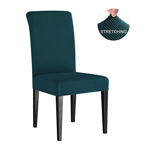 Subrtex Dyed Jacquard Stretch Dining Room Chair Slipcovers (4 Pieces, Teal Checks)