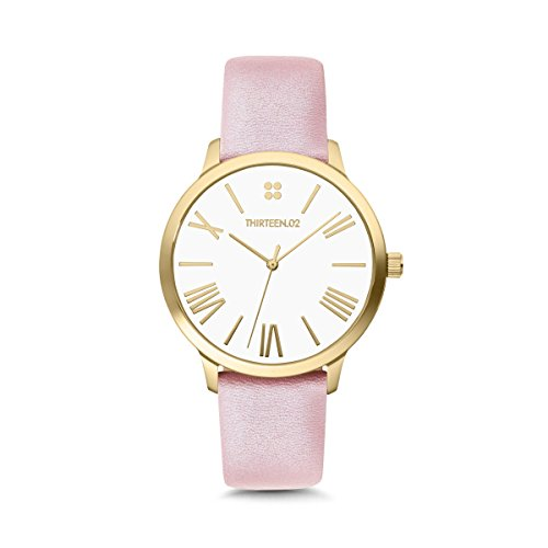 THIRTEEN.02 Gold Women's Watch, White Dial with Roman Numerals, Pink Shimmer Leather Watch Band - Sundance - Sundance Square