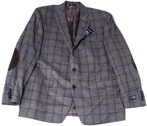 [해외]랄프 로렌 남성용 윈도우페인 투버튼 블레이저 재킷 / Ralph Lauren Mens Windowpane Two Button Blazer Jacket, Grey, 36 Regular