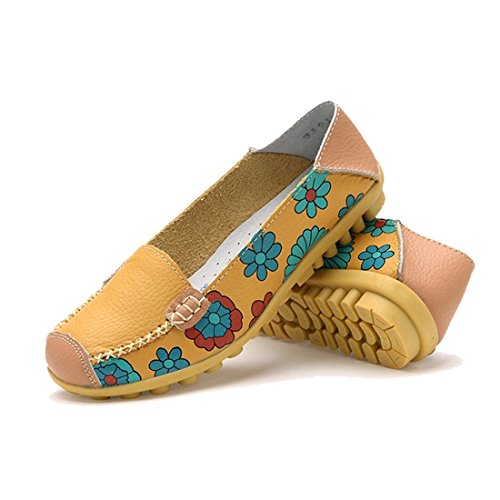 Maybest Women Colore Brillante Casual Fiore Stampato Slip On In Pelle Pompe Piatte Mocassini Scarpe Da Ballo Giallo
