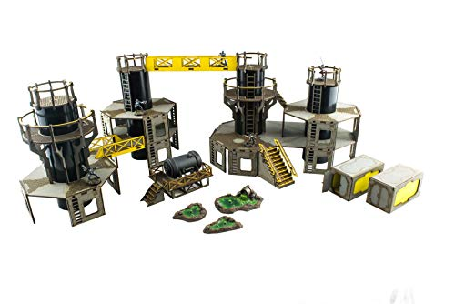 War World Gaming Industry of War Pre-Painted Large Refinery Complex - 28mm Sci-Fi Wargaming Terrain Model Diorama