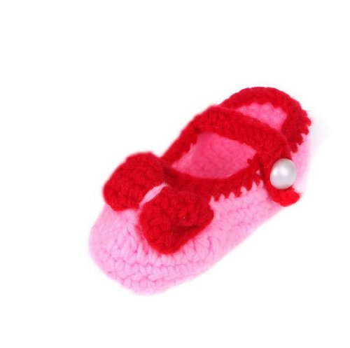 Smile YKK Gestrickte Krabbelschuhe Schuhe flauschige Baby-Unisex Länge 11 cm Flip Flops Violett Band Pink D