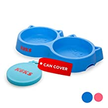 KEKS Set of Silicone Blue Bowls for Cats, Kittens, Small Pets & Pet Food Can Cover