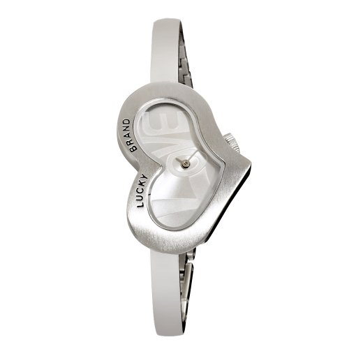Lucky Brand Women's 161209SVSV Silver-Tone Heart Shaped Love Dial Silver Bangle Watch (Lucky Brand Watches For Women)