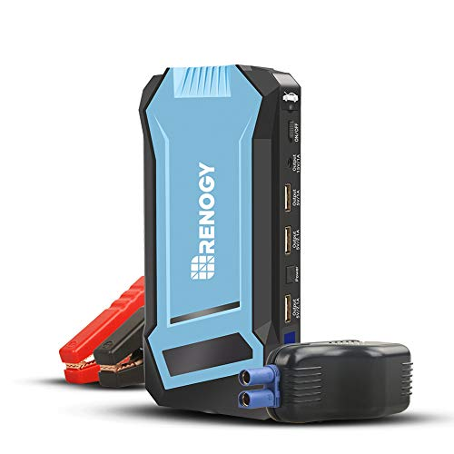 Renogy Portable Car Jump Starter-400A Peak 12000mAh Automotive Battery Charger (Up to 5L Gasoline/3L Diesel Engine), 12V Battery Booster with Multiple Charging Ports, Jumper Cable and LED Flashlight