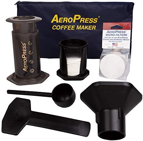 AeroPress Coffee and Espresso Maker with Tote Bag and 350 Additional Filters – Quickly Makes Delicious Coffee without Bitterness – 1 to 3 Cups Per Press
