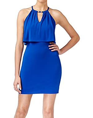 Guess Women's Stretch Bodycon Popover Keyhole Dress Blue 14