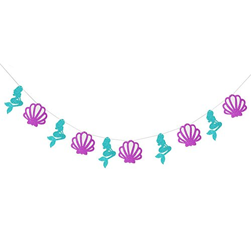 Mermaid Theme Garland Mermaid Seashell Party Banner, Party Supplies for Kid Birthday Party Decoration - 11Pcs for $<!--$9.99-->