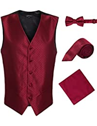 Men's 4pc Vest Diamond Pattern - 5 Button/Adjustable Back w/Bow Tie, Tie, Hanky
