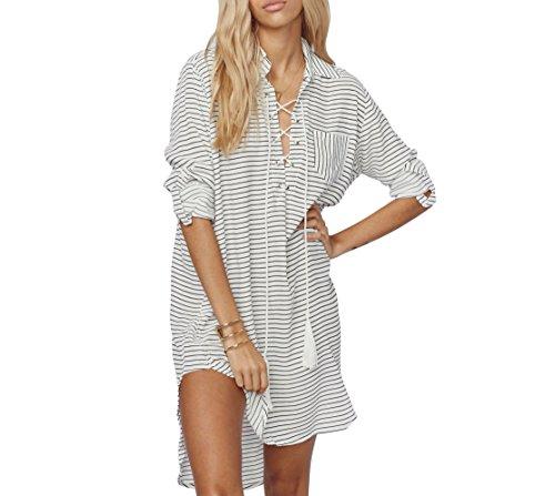 Jeasona Striped Sleeves Swimsuit Bathing