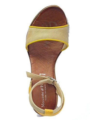 Mercante di Fiori 53300 Pelle Spazz. Giallo Beige - Sandalias de vestir de Piel para mujer Beige Beige Giallo Beige