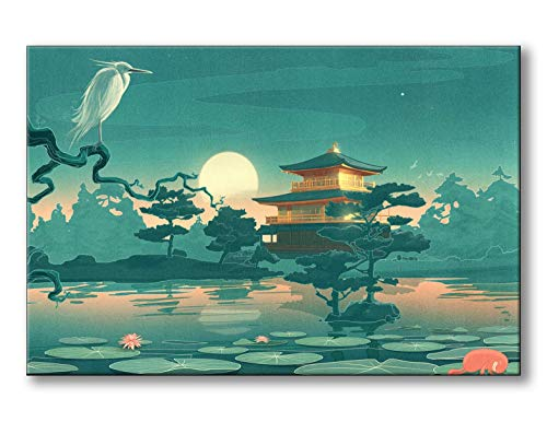 (Spoonbills Modern Wall Art Fantasy Japanese Fairy Tale Painting Printed on Canvas for Home Decor Lifestyle Artwork (Chinoiserie & Fairy Tale))