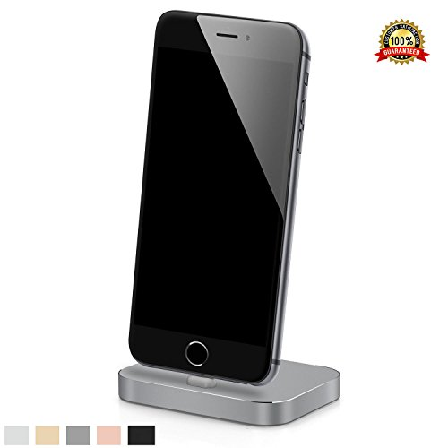 Apple iPhone Lightning Charging Stand Dock Station for iPhone 7/7 Plus/SE/5/c/s/6/6s, 6/6s Plus/iPod Nano 7th Gen/iPod Touch 5,6th Gen, Aluminum Charger Cradle for Charge and Sync Data (Space Gray) (Ipod Charger Dock)