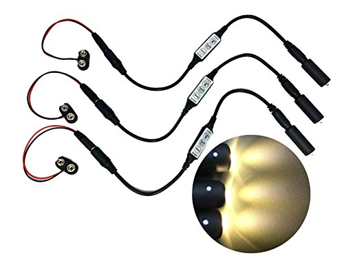 3 pack white LED micro effect light with flash blink strobe control 9 volt battery operated for props and -