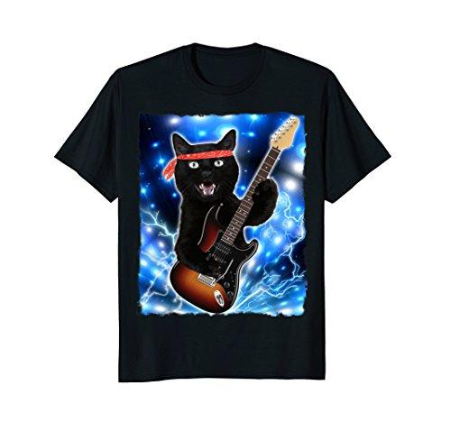 Cat Guitar Shirt Rock Band Tshirts Epic Solo Concert Tee (Rock Kids T-shirt Animal)