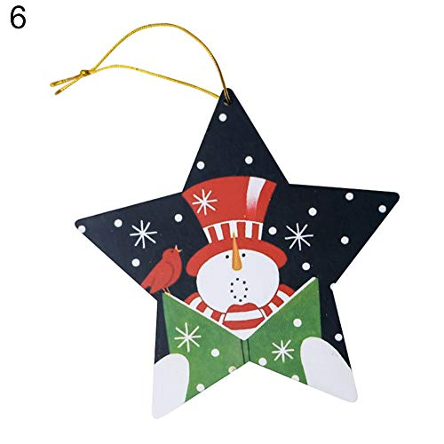 Pendant & Drop Ornaments - Wooden Christmas Heart Round Star Shape Tree Hanging Decor Xmas Party Ornament Gift - Daddy Crown Heart Set & Wonderland Decor Ornaments Persian Chair -