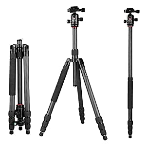 """60.2"""" Tripod Monopod Carbon Fiber, pangshi K1208/Q10 Professional Travel Portable Tripod Monopod with 360 Degree Ball head with Carrying Bag for DSLR Camera Shooting Filming"""