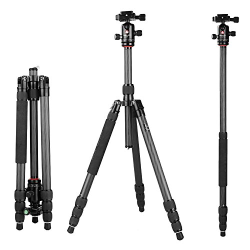 "60.2"" Tripod Monopod Carbon Fiber, pangshi K1208/Q10 Professional Travel Portable Tripod Monopod with 360 Degree Ball head with Carrying Bag for DSLR Camera Shooting Filming by pangshi"