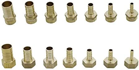 1pc Brass Copper 14mm Hose Barb to 16mm 19mm 25mm OD Hose Gas Coupler Connector Raccord Barb Reducer Pipe Fitting Air Tube Adapter no logo WSF-Adapters Size : 14mm x 16mm