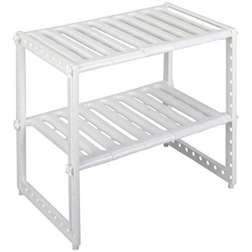 Free-standing Under Sink Organizer | 2 Tiers Adjustable Under Sink Storage Shelf Cabinet | 12 Sliding Slats | Plastic Frame Extends 16