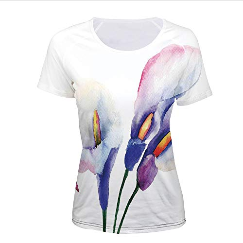 Women's T-Shirt,Flowers Painting Close View to The Revival,Pictures Print