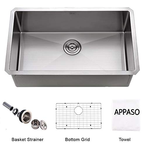 APPASO 32-Inch Silent PRO Single Bowl Kitchen Sink Undermount, 16-Gauge Stainless Steel 10-Inch Deep Commercial Handmade Large Drop-in Kitchen Sink, HS3219 ()