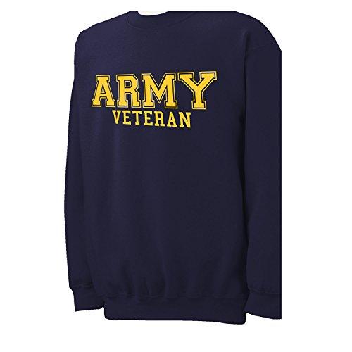 (ZeroGravitee Army Veteran Gold Logo Military Style PT Crewneck Sweatshirt In Navy - XXXX-Large)