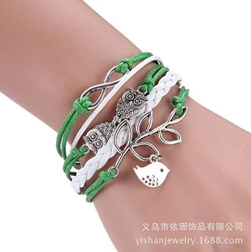 JOVANA Vintage Handmade Infinity Silver 8 Owl Leaf Bird Leather Bracelet Wristband New