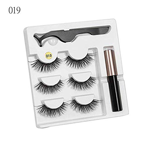 Magnetic Eyeliner and Lashes Kit, Magnetic Eyeliner and Magnetic Eyelashes, No Glue Reusable Silk False Lashes, Easy to Wear, Magnetic Eyeliner with Tweezers, With 3D Reusable Lashes [3 Pairs]