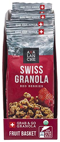 Avalanche Organic Red Berries Swiss Granola, 1.76 Ounce Bag (36 Total) Organic, Non-GMO, All Natural, Kosher, Portable Packet of Granola, Convenient Size Snack On The Go, Can Pour in Milk or Yogurt