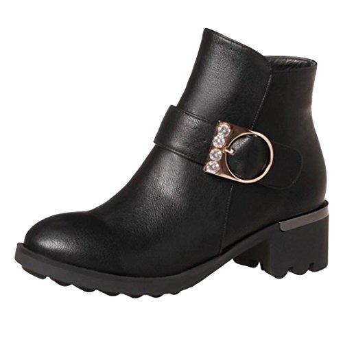 AIYOUMEI Damen Blockabsatz Stiefeletten mit Schnalle und Strass 5cm Absatz Ankle Boots Schwarz