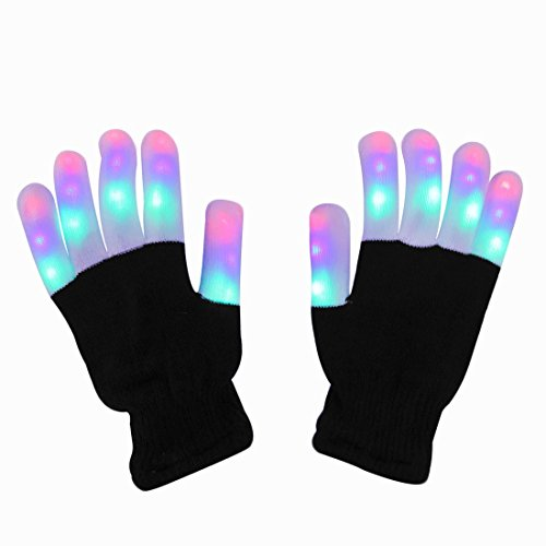 LED Gloves, DAXIN DX Light up Rave Gloves Finger Light Gloves Novelty Toys for Kids 6 Adjust Modes for LightShow/ Performances/ EDM/ Camping/ Disco/ Party/ Halloween/ Christmas/ Birthday Gifts
