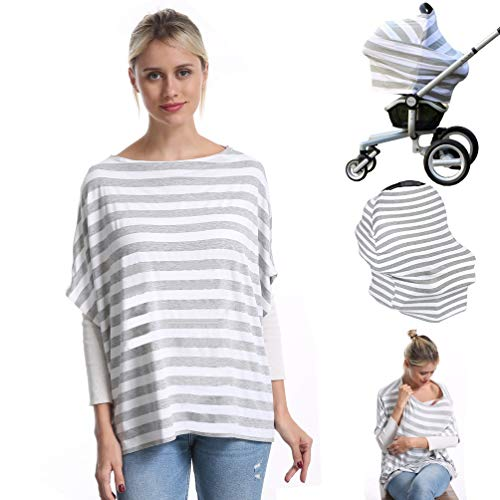 Nursing Breastfeeding Cover Car Seat Canopy for Infant Baby, Soft Bamboo Jersey, Extremely Stretchy, All-in-one Carseat Stroller Cover, Nursing Cover Up Poncho Tops Clothes, Nurse Gift Stripe