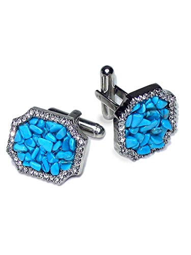 - Krisar Silver-Tone Cufflinks Turquoise Color Stones Men's Cuff Links